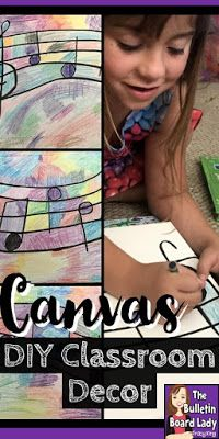 Learn how to create your own canvas art for your home or classroom with supplies you already have! Works with any theme and doesn't take long to complete. Kindergarten Music, Preschool Music, Teaching Music, Diy Canvas, Canvas Art, Painting Canvas, Create Your Own Canvas, Music Education Activities, Music Bulletin Boards