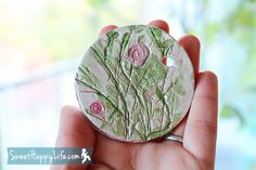 Capturing Garden Memories in Clay   Preschool Art Activity. Put leaves of rosemary, thyme, etc on. Paint once dry. Cool ornament.
