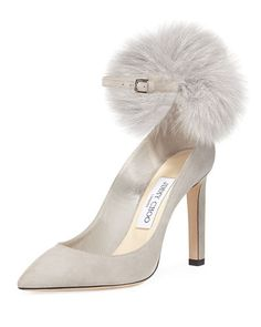 JIMMY CHOO South Suede Fur Pompom Pump, Gray. #jimmychoo #shoes #