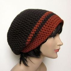 Slouchy Beanies for Men | Dark Taupe Brown Slouchy Crochet Hat Mens by ColorMyWorldCrochet