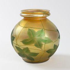 Tiffany Favrile Glass Vase with Intaglio Carved Leaf Decoration