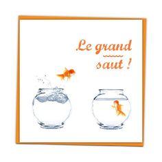 Faire-part Mariage - Drôles de Poissons - Orange et bleu, thème mer