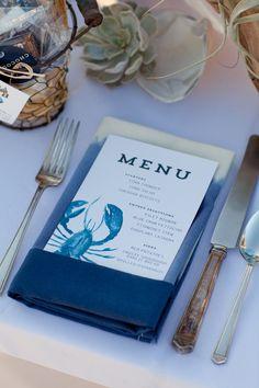 Watercolor lobster menu. Peter Loves Jane.