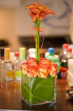 Flowers, Centerpiece, Green, Orange