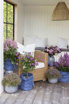 Blå Grow-in er lekkert å kombinere med rosa blomster og andre blå keramikkpotter.