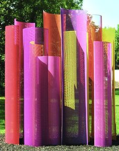 Transparent - Color Field Sculpture Warm Palette / 14' x 10' x 5' / powder coated perforated aluminum