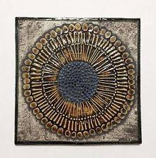 Vintage Lisa Larson Gustavsberg Pottery Abstract Sunflower Wall Tile / Plaque