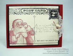 dostamping, stampin up, dawn olchefske, christmas cards, holiday mini, Santa's List, Postcard