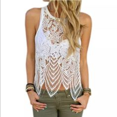 Lacey May Top Lace top in white. Gorgeous lace over top in white. Size medium Tops