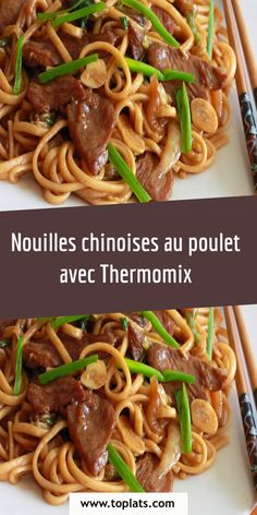 Nouilles chinoises au poulet avec Thermomix Food Hacks, Spaghetti, Food And Drink, Chicken, Meat, Cooking, Ethnic Recipes, Desserts, Diners