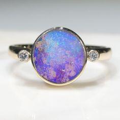 Natural Australian Boulder Opal and Diamond Gold Ring  - Size 7.75 Code - RL33 10k Gold Ring, Gold Diamond Rings, Gold Rings, Gemstone Rings, Natural Opal, Natural Diamonds, Gold Ring Designs, Opal Color, Green Opal