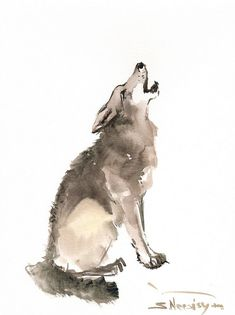 Wolf original watercolor painting 12 X 9 in animal by ORIGINALONLY, $32.00