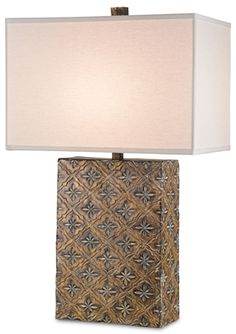 Chile Table Lamp -carved wooden base is indiscriminately hand-finished with authentic and rustic look