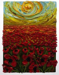 Red Poppy field sunset. 40 Impasto Painting Ideas And Techniques For Beginners. Great link with tips.