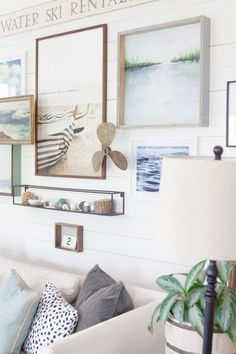 LOVE this layered artwork wall .... Decorating | Coastal | Cottage | Farmhouse | Gallery Wall