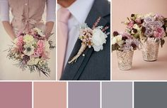 Like the gray colors here mixed with pale pinks & creams would be pretty colors