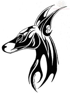 Anubis Tribal Head Tattoo Design