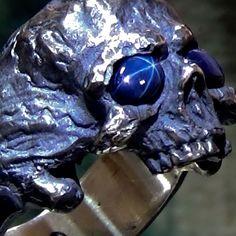 Natural Star Sapphire Custom Handmade 925 Sterling Silver Mens Biker Skull Ring #SIGNO #BikerSkullRing