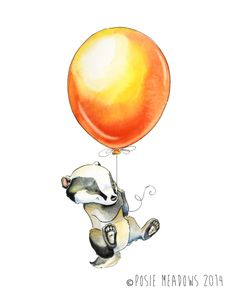 Badger's Balloon with black and yellow ballon- Badger Watercolor Giclee Print, Original Artwork, Children's illustration, Nursery Wall Art Scrapbooking Image, Image Deco, Printed Balloons, Art Original, Art Mural, Nursery Wall Art, Nursery Decor, Woodland Animals, Cute Drawings