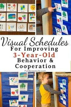 Creating a daily visual schedule is a great way to provide some flexible structure to your three-year-old's day. I find that an activity schedule really helps improve difficult 3-year-old behavior when you are a stay-at-home or work-at-home mom. Find out all the details of how to make your own visual schedule. Free printable, too! #3yearolds #preschoolers #preschoolathome #visualschedule #preschoolactivities #fullgreenlife
