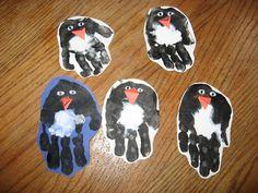 penguin craft- handprint (black paint, orange nose, and googly eyes! Winter Crafts For Kids, Winter Fun, Winter Theme, Art For Kids, Preschool Winter, Winter Ideas, Daycare Crafts, Classroom Crafts, Toddler Crafts
