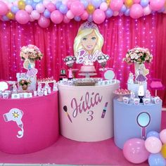 5th Birthday Party Ideas, 14th Birthday, Birthday Fun, Birthday Parties, Barbie Party Decorations, Barbie Theme Party, Birthday Decorations, Little Girl Birthday Cakes, Barbie Birthday Cake