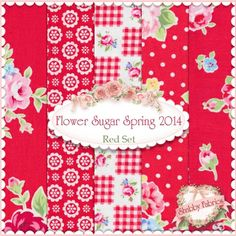 "Flower Sugar Spring 2014 5 FQ Set - Red by Lecien Fabrics: Flower Sugar Spring 2014 is a collection by Lecien Fabrics. 100% cotton. This set contains 5 fat quarters, each measuring approximately 18"" x 21""."
