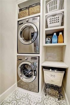 1919 Handwerker In Indianapolis, Indiana above washer and dryer small laundry rooms Room Remodeling, Room Closet, Room Storage Diy, Stacked Laundry Room, Room Makeover, Utility Rooms