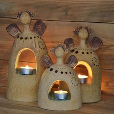 Not a good idea to have a candle in the center under the clay but this can easily be changed. Ceramics Projects, Clay Projects, Clay Crafts, Clay Angel, Ceramic Clay, Ceramic Pottery, Pottery Art, Pottery Angels, Ceramic Angels