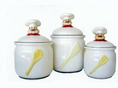 """Gourmet Chef Canisters Set of 3 Gourmet Design by Marcel Gourmet. $57.99. The largest is 11.5"""" high and 8"""" in diameter (6.5"""" from bottom to lid).. The next to smallest is 8.5""""tall and 6"""" in diameter (5"""" from bottom to *lid).. The next largest is 9.5""""high and 7.5"""" in diameter (5.5"""" from bottom to *lid).. Marcel Home Decor Gift invites you to visit our other Fat Chef products under *kitchen decor!. Dimensions approximately. From Our gourmet chef collection a 3 pcs Ca... Fat Chef Kitchen Decor, Kitchen Design, Kitchen Storage, Kitchen Canisters, Christmas Kitchen, Canister Sets, Home Kitchens, Italian Chef, Cookie Jars"""