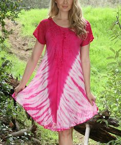 Another great find on #zulily! Fuchsia Tie-Dye Scoop Neck Dress - Women by Ananda's Collection #zulilyfinds