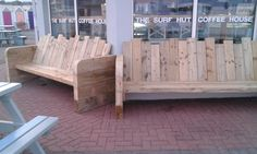 bench seats made from sleepers Timber Gates, Outdoor Furniture, Outdoor Decor, Surfing, Bench, House, Home Decor, Wood Gates, Decoration Home