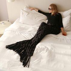 Mermaid Tail in BLACK! Mermaid Tail Blanket ~ So Elegant and gorgeous… Mermaid Zombie, Zombie Halloween Costumes, Mermaid Tail Blanket, Yarn Bombing, New Moon, All Black, Elegant, Stylish, My Style