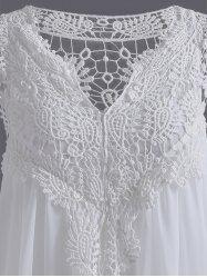 Plus Size Hollow Out Lace Spliced Mini Dress (WHITE,5XL) | Sammydress.com Mobile