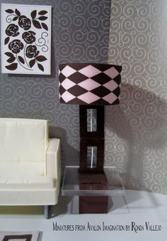 1:6th Scale Barbie or Blythe miniature dollhouse lamp in dark wood with pink and chocolate brown lamp shade
