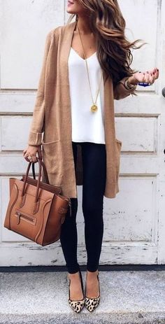 #fall #outfits women's brown cardigan