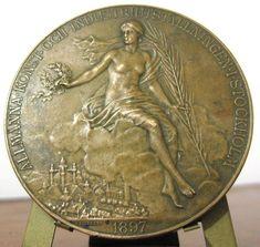Sweden Norway King Oscar II Stockholm Exhibition Medal 1897 NUDE BRONZE MEDAL #ALINDBERG