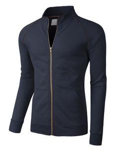 LE3NO PREMIUM Mens Lightweight Cadet Collar Full Zip Track Jacket
