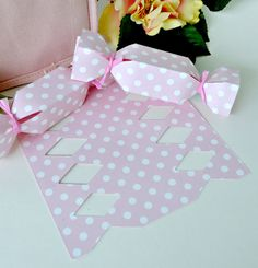 Pink Baby Shower Favor Boxes, Candy Wrapper style. Polka Dots  DIY Favor Kit
