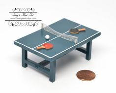 Unknown Scale Dollhouse Miniature Ping Pang Game by SinnysMiniArt