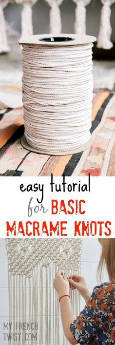 easy tutorial for basic macrame knots is part of Macrame - We're in the middle of an epidemic Macramania! Ropes, cord, knots and lots more crazy bondage designs are invading our nests I don't know about … More easy tutorial for basic macrame knots Macrame Art, Macrame Projects, Craft Projects, How To Macrame, Craft Ideas, Sewing Projects, Project Ideas, Macrame Modern, Macrame Bracelet Diy
