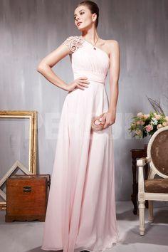 Robe de soirée rose moulante ornée de strass à seule épaule - Persun FR
