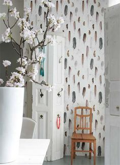 #behang met #veren #Wallpaper | Authentique Mignon