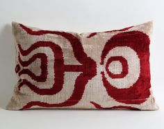 Red Velvet Pillow Cover 16x24 Maroon Red Ivory Handwoven