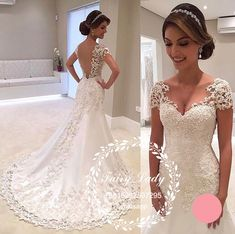 Amazing Backless Mermaid Wedding Dresses With Capped Sleeves 2018 Sexy Women Deep V Neck Long Court Train Appliques Beading Bridal Gown