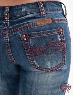 Perfect medium wash jean has just the perfect amount of whiskering & wearing for the red twisted threads to compliment a subtle hint of specialty that you will love. This very flattering jean has an UnBelievable Fit made of premium denim along with Cheap Cowgirl Boots, Cowgirl Tuff, Blue Jeans, Compliments, Rocks, Red, How To Wear, Outfits, Clothes