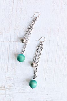 This statement making Aarikka Finland earrings are 3.5 L but light and comfortable. Made from silver tone metal and turquoise stained wood, they are characteristic of Aarikka.