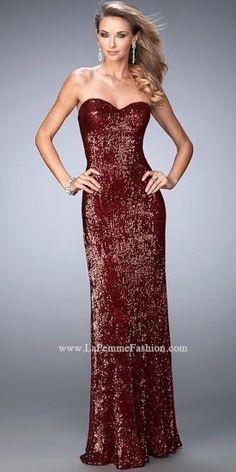 Sequin Sweetheart Sheath Dress By La Femme   #dress #fashion #designer #lafemme #edressme