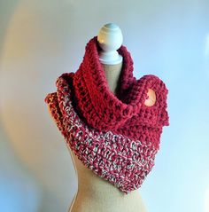 Hey, I found this really awesome Etsy listing at https://www.etsy.com/listing/290782923/crochet-cowl-button-scarf-red-cowl-red
