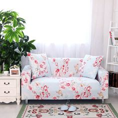 Stretch Printed Sofa Cover Anti-Slip Anti Wrinkle Sofa Slipcover Lightweight Sofa Furniture Protector Cover Seater Couch Covers Fit Many Popular Sofas (Light blue, beautiful flowers) By Corner Sofa Covers, Couch Covers, Outdoor Furniture Covers, Sofa Furniture, Furniture Ideas, Floral Sofa, Printed Sofa, Old Sofa, L Shaped Sofa